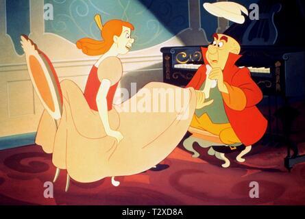 UGLY STEPSISTER TRIES SLIPPER, CINDERELLA, 1950 - Stock Image