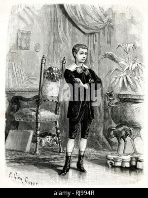 French boy wears a velvet suit comprised of knickerbockers, jacket fastened at the neck & open to reveal a waistcoat, white falling collar & large bow, socks & heeled boots. - Stock Image