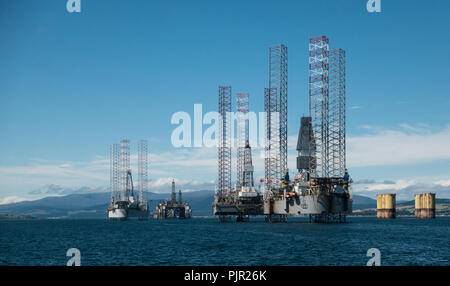 North Sea Gas/Oil Drilling Platforms in the Cromarty Firth, Scotland - Stock Image