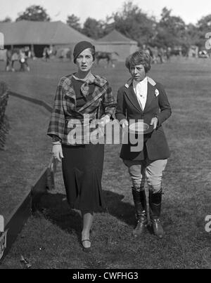 Mrs John V Bouvier III & Miss Jean D Olcott (daughter of Mrs Dudley Olcott) at the Piping Rock Horse Show, Long - Stock Image