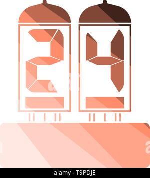 Electric Numeral Lamp Icon. Flat Color Ladder Design. Vector Illustration. - Stock Image