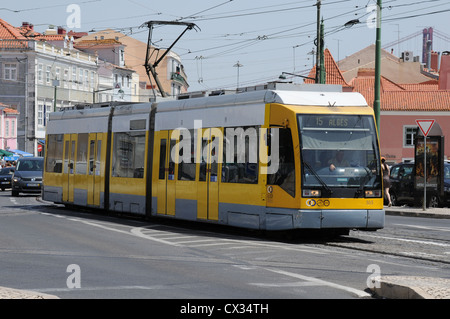 Tram in the Belem District of Lisbon, Portugal - Stock Image