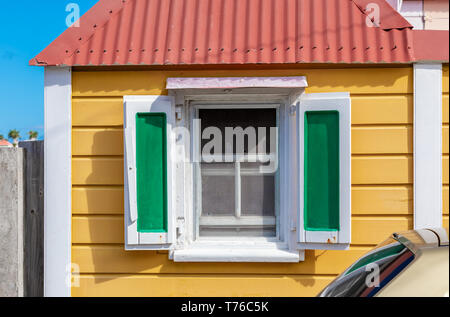 detail image of a brightly painted house in Gustavia, St Barts - Stock Image