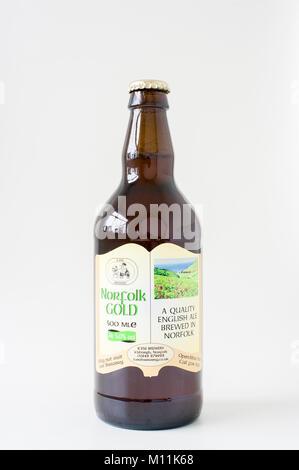 Norfolk Gold real ale in a brown bottle brewed in Norfolk England UK - Stock Image