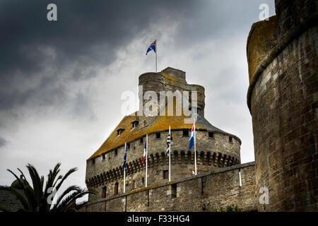 city wall saint malo brittany france europe - Stock Image