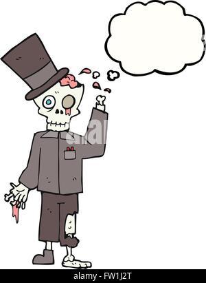freehand drawn thought bubble cartoon posh zombie - Stock Image