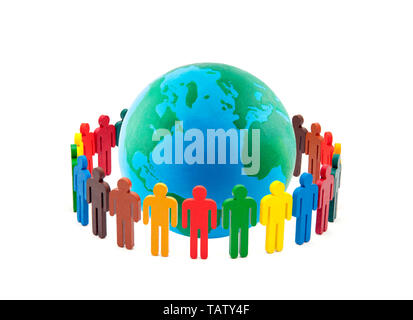 Circle of colourful people around the globe on white background - Stock Image