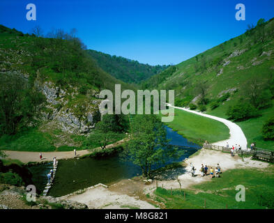 Tourists in Dovedale Derbyshire England UK - Stock Image