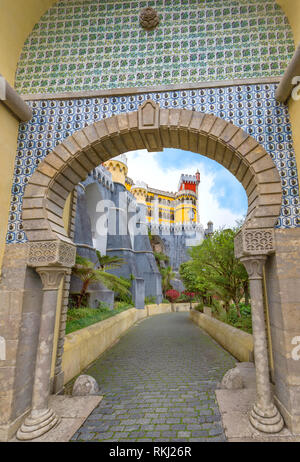 Entrance Arch to Pena palace, Sintra, Portugal - Stock Image