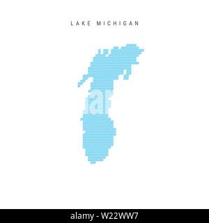 Vector Blue Wave Pattern Map of Lake Michigan, One of the Great Lakes of North America. Wavy Line Pattern Silhouette of Lake Michigan. - Stock Image