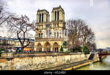 View of the Notre Dame de Paris cathedral - France - Stock Image