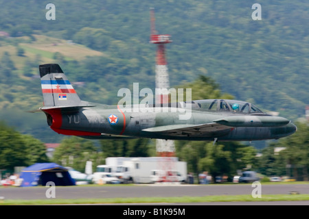Very low Galeb G-2 'JRV' fly-by, Airshow Maribor 2008, Slovenia June 15, 2008 - Stock Image