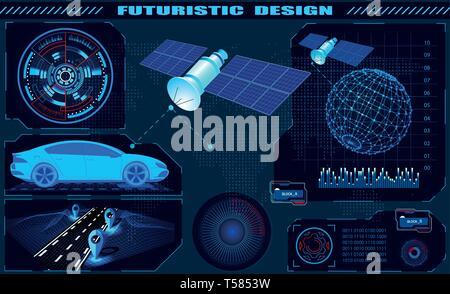 Futuristic graphic interface, satellite car GPS navigation, hud design, globe hologram. illustration - Stock Image