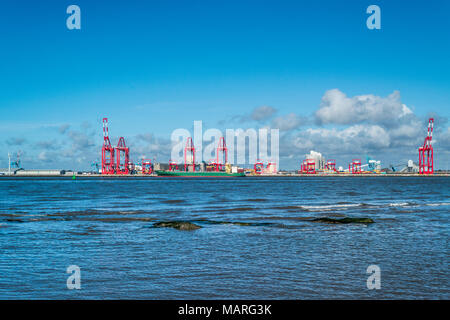 ferry terminal liverpool docks bootle from New Brighton Lighthouse on the Wirral near Birkenhead liverpool  north west england uk - Stock Image