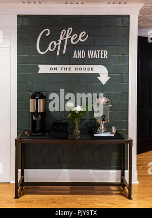 Coffee and Water Station in Guest Foyer - Stock Image