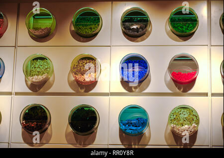 Lego bricks texture wall of  containers shelf Lego Store - Stock Image