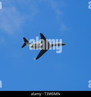 Private jet aircrat taking off from Luton Airport, Bedfordshire, England, UK - Stock Image