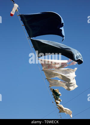 laundry drying in a strong wind, Lancaster County, Pennsylvania, USA - Stock Image
