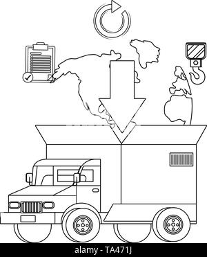 truck with a big box in the back and a map with download arrow - Stock Image