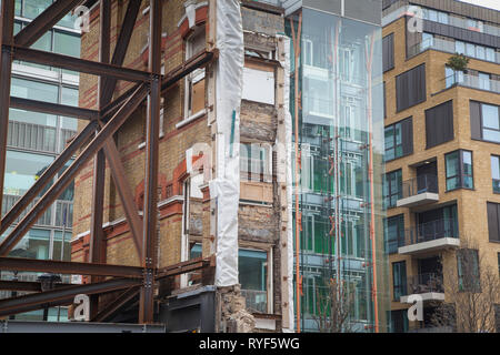 Regeneration development construction work in Soho. London - Stock Image