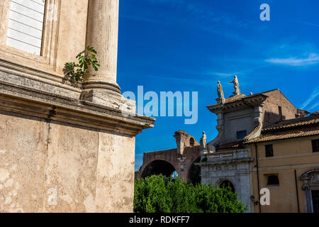 Rome, Italy - 24 June 2018: The ancient ruins at the Roman Forum at Rome. Famous world landmark. Scenic urban landscape. - Stock Image