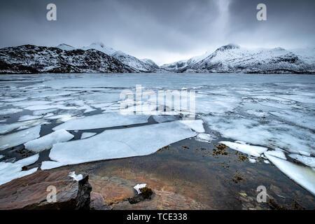 Frozen lake near Svolvaer airport, Austvagoya, Nordland, Norway - Stock Image