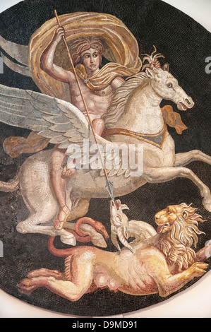 Portion of Roman mosaic of ancient Greek Hero Bellerofon killing monster Chimera displayed in Museum Rolin Autun - Stock Image
