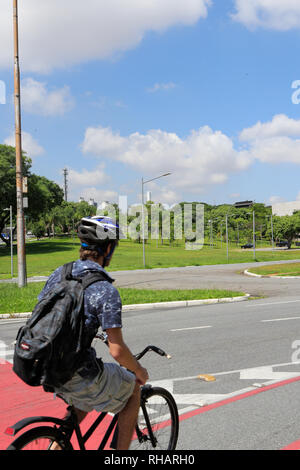Man riding a bicycle in the campus of the Sao Paulo university. Sao Paulo . Brazil. South America - Stock Image