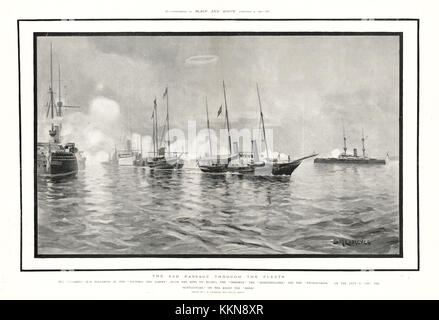1901 Black & White Royal Yacht Alberta at Portsmouth Harbour Carrying the Body of Queen Victoria - Stock Image