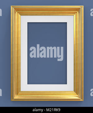3D render of Vintage Gold Frame with passe-partout on blue background. Blank for Copy Space. - Stock Image