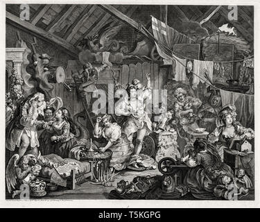 William Hogarth, Strolling Actresses Dressing in a Barn, engraving, 1738 - Stock Image