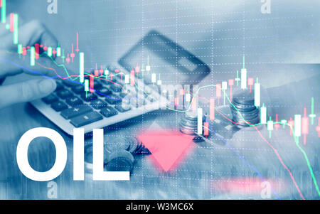 Oil trend down. Candle graph chart Oil barrels and a financial chart on abstract business background. Price oil down. Barrel arrow down - Stock Image