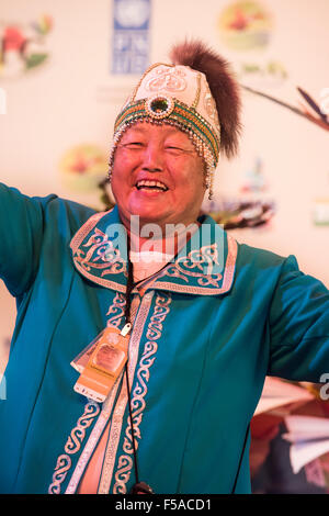Palmas, Tocantins State, Brazil. 29th October, 2015. Alexandra Grigorieva, the single delegate from Siberia, smiles - Stock Image
