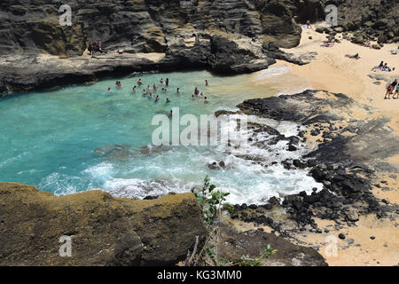 Halona Beach Cove - Oahu, Hawaii - Stock Image