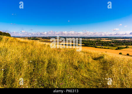 Early morning view and pathway at Sharpenhoe outcrop, Bedfordshire, UK - Stock Image