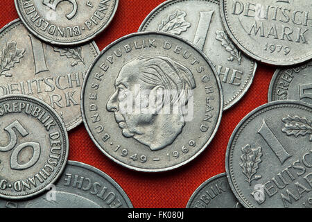 Coins of Germany. German statesman Theodor Heuss depicted in the German two Deutsche Mark coin (1969). - Stock Image