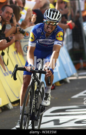 Macon to Saint-Etienne, France. 13th July 2019. Macon to Saint-Etienne, France. Macon to Saint-Etienne, France. 13th July 2019, Macon to Saint-Etienne, France; Tour de France cycling tour, stage 8; Julian Alaphilippe, Deceuninck - Quick - Step Credit: Action Plus Sports Images/Alamy Live News Credit: Action Plus Sports Images/Alamy Live News Credit: Action Plus Sports Images/Alamy Live News - Stock Image