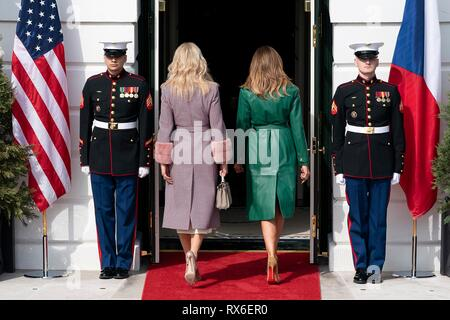 U.S First Lady Melania Trump escorts Monika Babisova, wife of Czech Prime Minister Andrej Babis into the White House March 7, 2019 in Washington, DC. - Stock Image