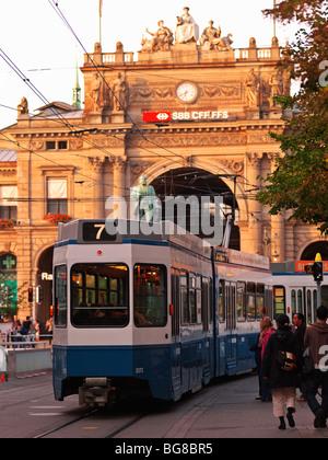 Switzerland, Zurich,tram in front of Hauptbahnhof, Zurich's main railway station - Stock Image