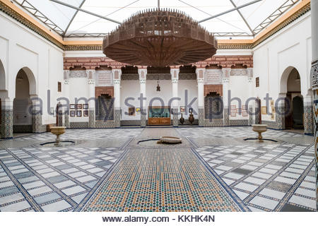 Morocco, Marrakech-Safi (Marrakesh-Tensift-El Haouz) region, Marrakesh. Marrakech Museum, housed in the 19th century - Stock Image