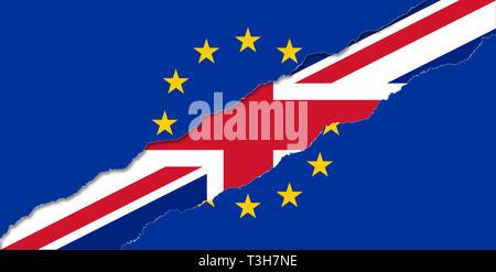 UK out of EU flag illustration - Stock Image