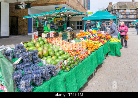 Fruit and veg stall in Bromley High Street, South London. - Stock Image