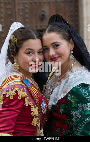 Girls in traditional costumes Valencia Spain - Stock Image