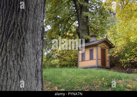 Small wooden shed structure, Djurgarden, Stockholm, Sweden - Stock Image