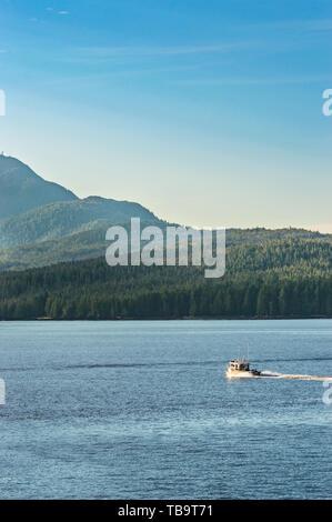 September 17, 2018 - Tongass Narrows, AK: Aluminum hulled fishing boat, early morning, travelling near Gravina Island, North of Ketchikan. - Stock Image