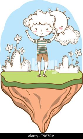 Stylish boy blushing cartoon outfit shorts stripped tshirt hands up  nature background frame vector illustration graphic design - Stock Image