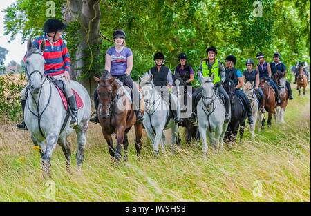 A group of friends out riding down a green lane on a summers afternoon - Stock Image
