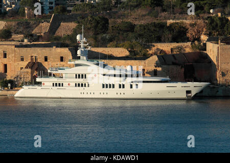 The 71m Proteksan Turquoise superyacht Talisman C moored in Marsamxett Harbour, Malta - Stock Image