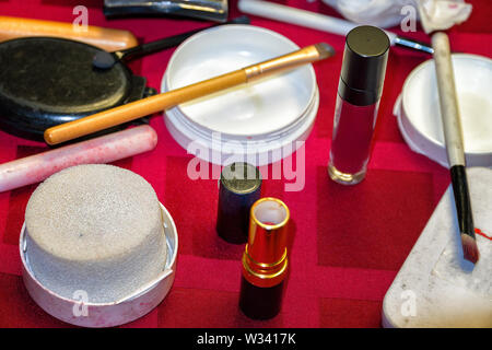 Set of cosmetics for daily makeup on the table. Selective focus - Stock Image