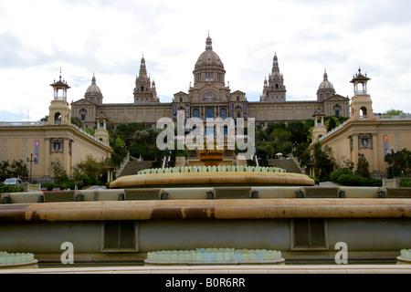 Palau Nacional and Museu Nacional d Art de Calatalunya, Barcelona, Spain - Stock Image